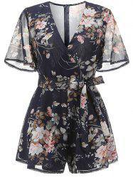 Womens Boho V Neck  Flare Sleeves Print Romper Jumpsuits -