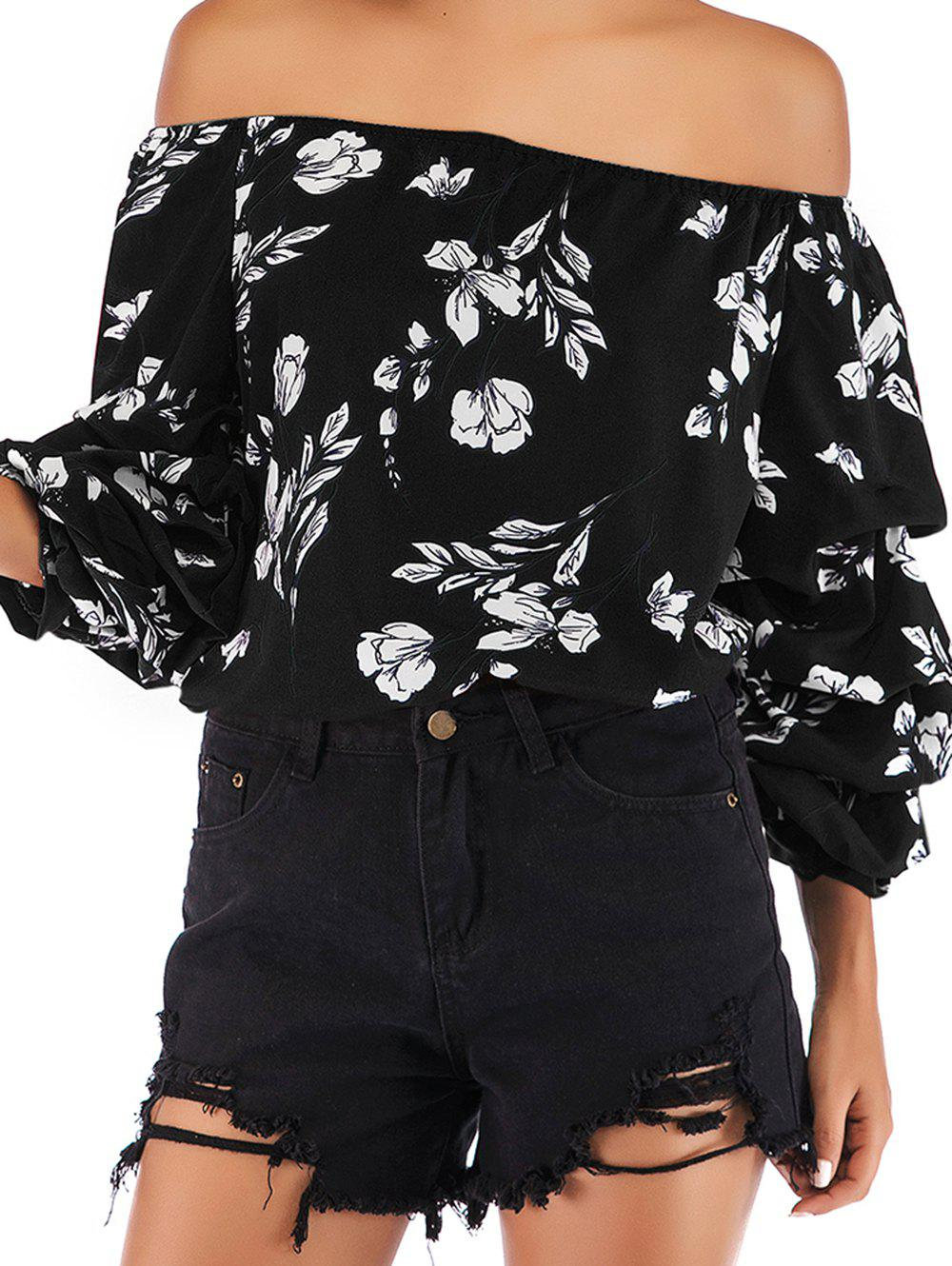 Sale Women Casual Floral Print Long Sleeve Chiffon Shirt Blouse Tops