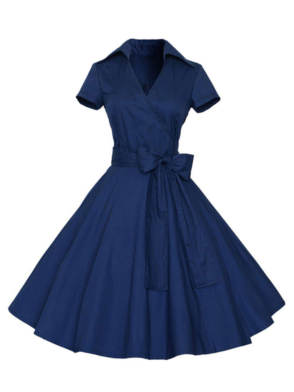 Fancy Hepburn Vintage Series Women Dress Spring And Summer Pure Color Lapel V-neck Design Short Sleeve Retro Belt Dress