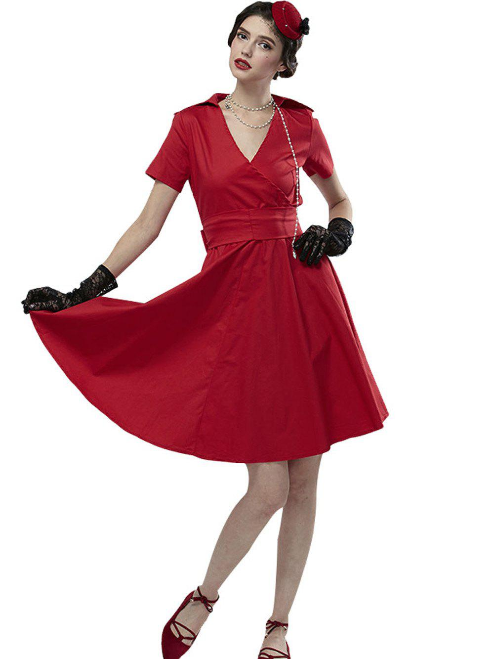Chic Hepburn Vintage Series Women Dress Spring And Summer Pure Color Lapel V-neck Design Short Sleeve Retro Belt Dress