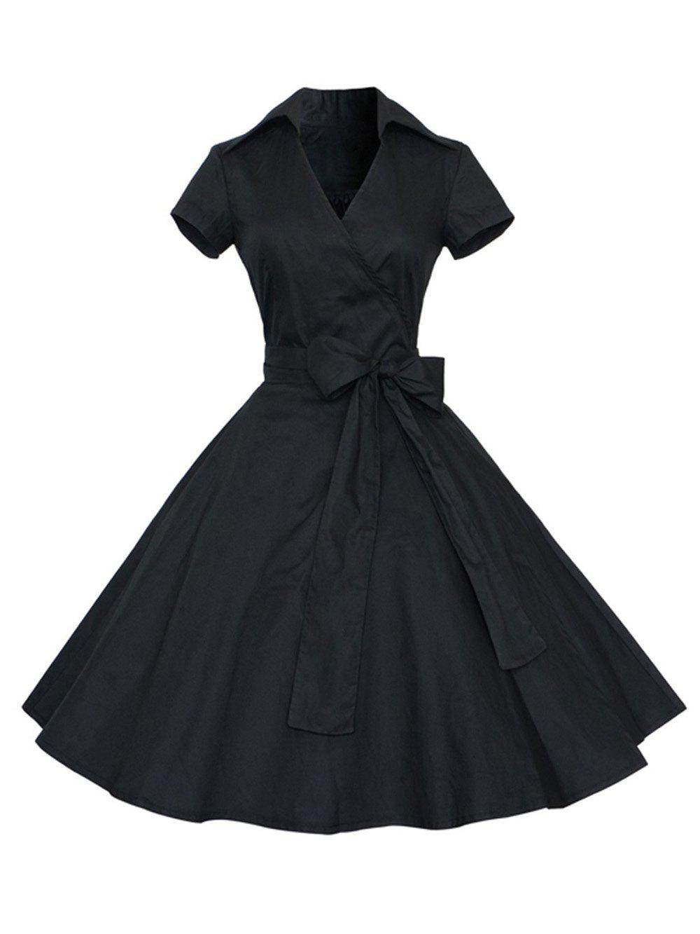 Hot Hepburn Vintage Series Women Dress Spring And Summer Pure Color Lapel V-neck Design Short Sleeve Retro Belt Dress
