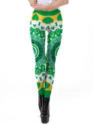 Women Stretch Fadeless Clover Print Leggings Space Tight Pants -
