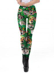 Womens Fashion Clover Pets  Print Leggings Tight  Pants -