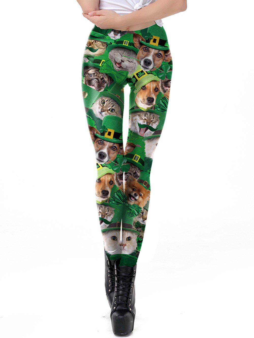 Fancy Womens Fashion Clover Pets  Print Leggings Tight  Pants