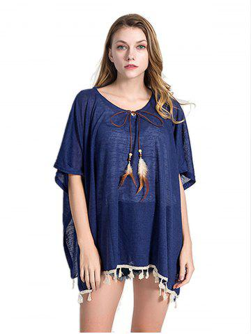 Solid Color Feather Hanging Beach Sunscreen Blouse