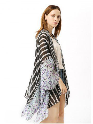 Chiffon Striped Beach Sunscreen Cardigan Holiday Suit