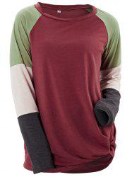 Womens Long Sleeve Patchwork Color Block Sweatshirt Casual Tunic Top -
