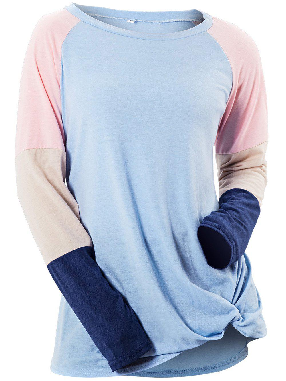New Womens Long Sleeve Patchwork Color Block Sweatshirt Casual Tunic Top