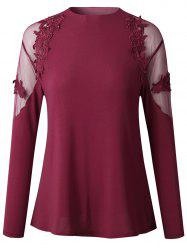 2019 New Womens Fashion lace Long Sleeve Shirt  Tops -