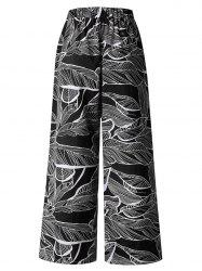 Womens Casual Floral Print High Waist Wide Leg Long Palazzo Pants with Pockets -