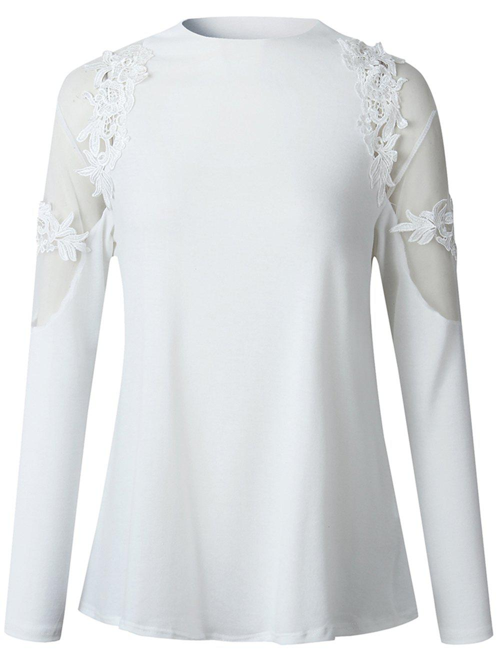 Discount 2019 New Womens Fashion lace Long Sleeve Shirt  Tops