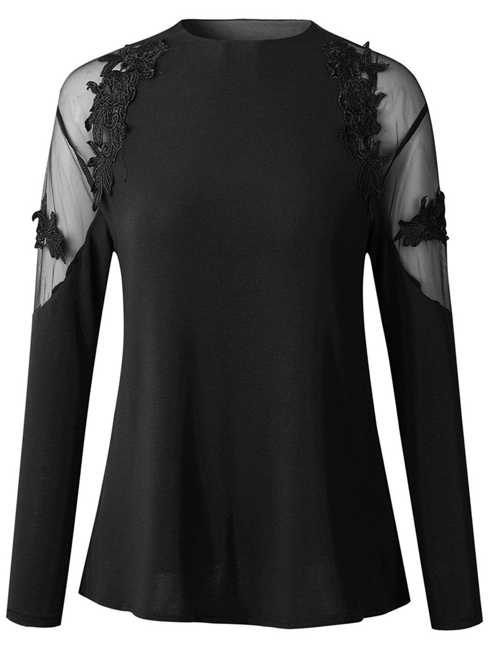 Shops 2019 New Womens Fashion lace Long Sleeve Shirt  Tops