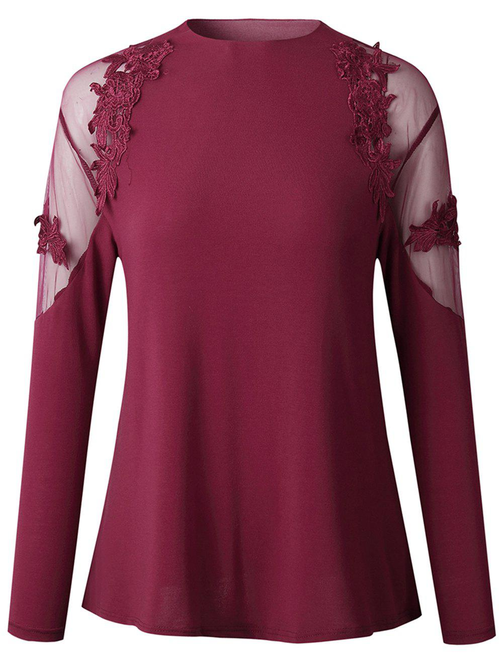 Unique 2019 New Womens Fashion lace Long Sleeve Shirt  Tops