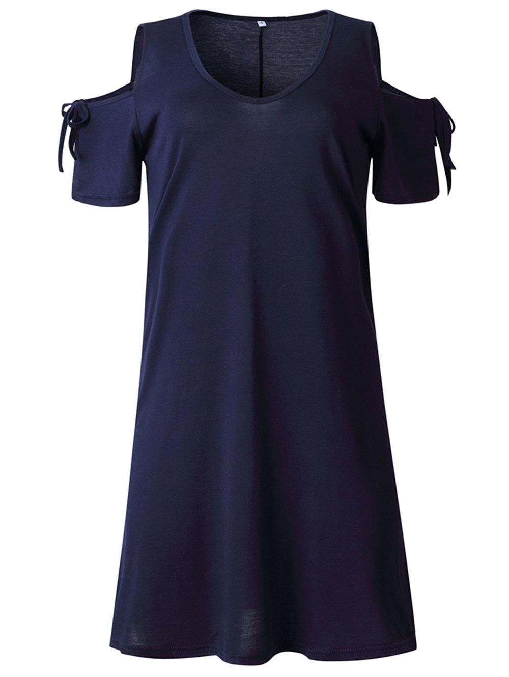 Cheap 2019 New Womens Cold Shoulder Tunic Top T-Shirt Swing Dress