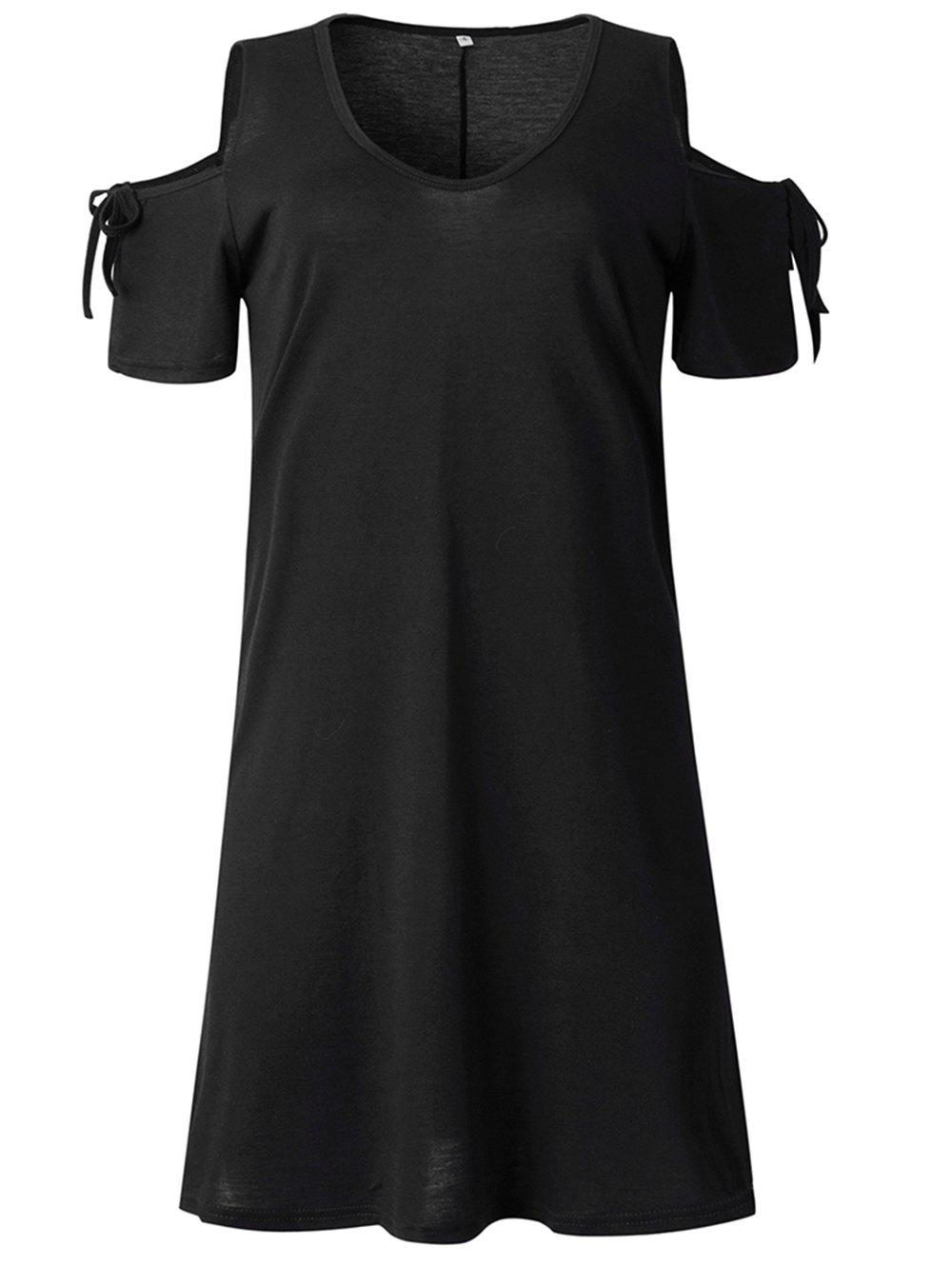 Latest 2019 New Womens Cold Shoulder Tunic Top T-Shirt Swing Dress