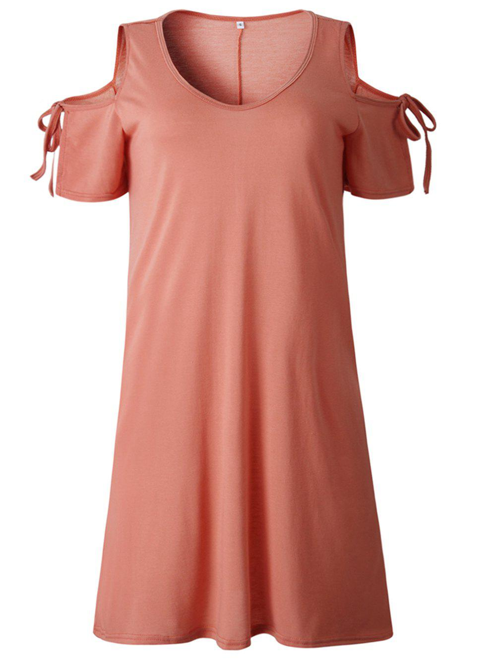 Unique 2019 New Womens Cold Shoulder Tunic Top T-Shirt Swing Dress