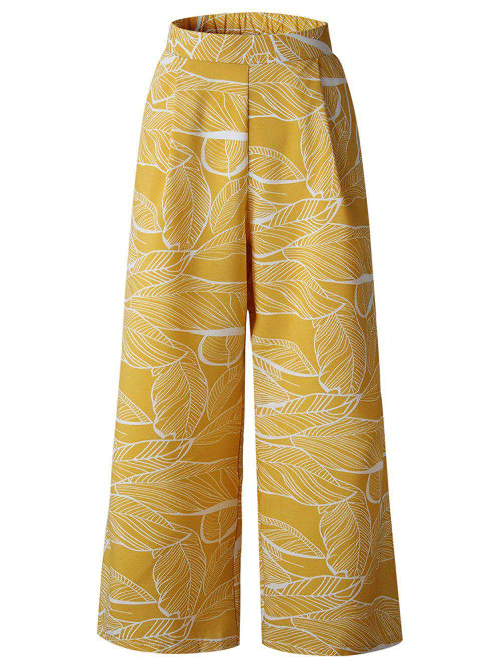 Fashion Womens Casual Floral Print High Waist Wide Leg Long Palazzo Pants with Pockets