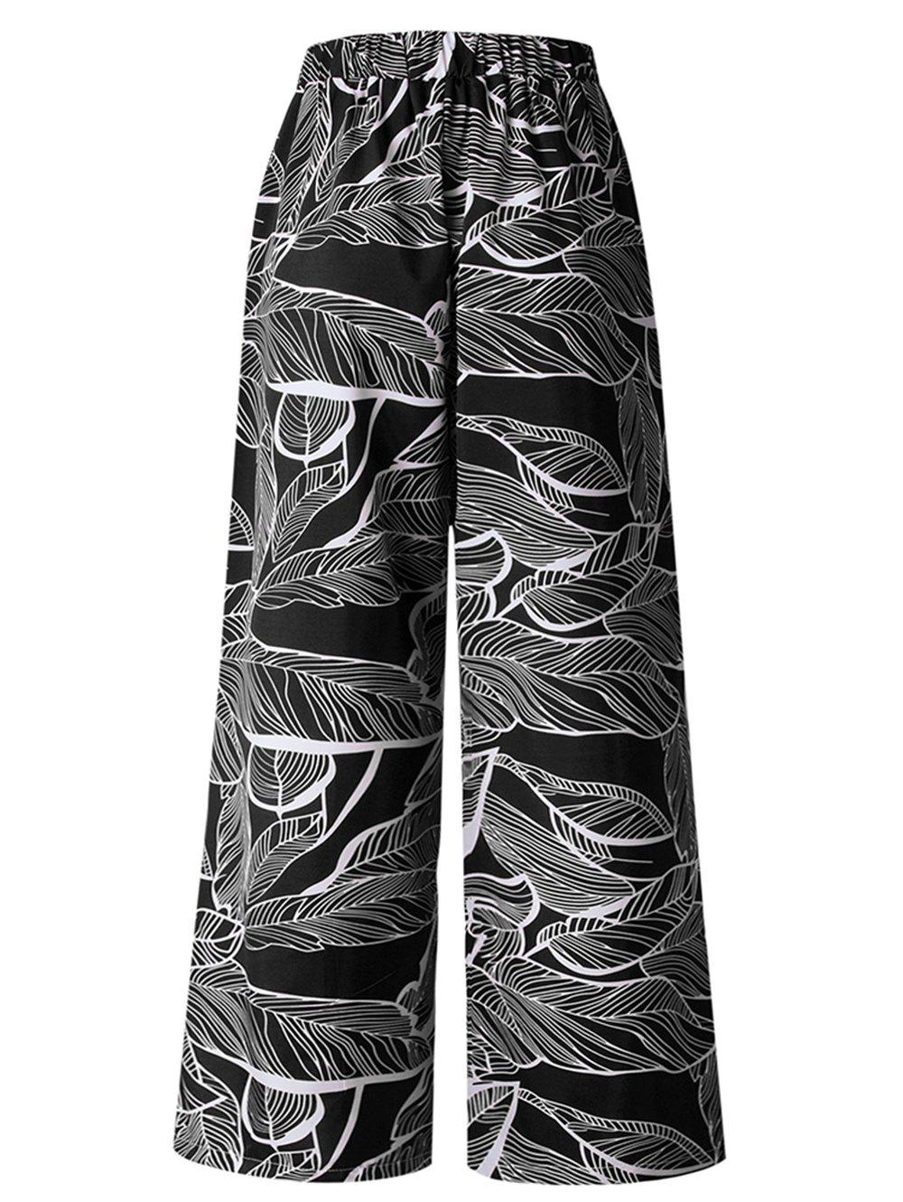 Chic Womens Casual Floral Print High Waist Wide Leg Long Palazzo Pants with Pockets