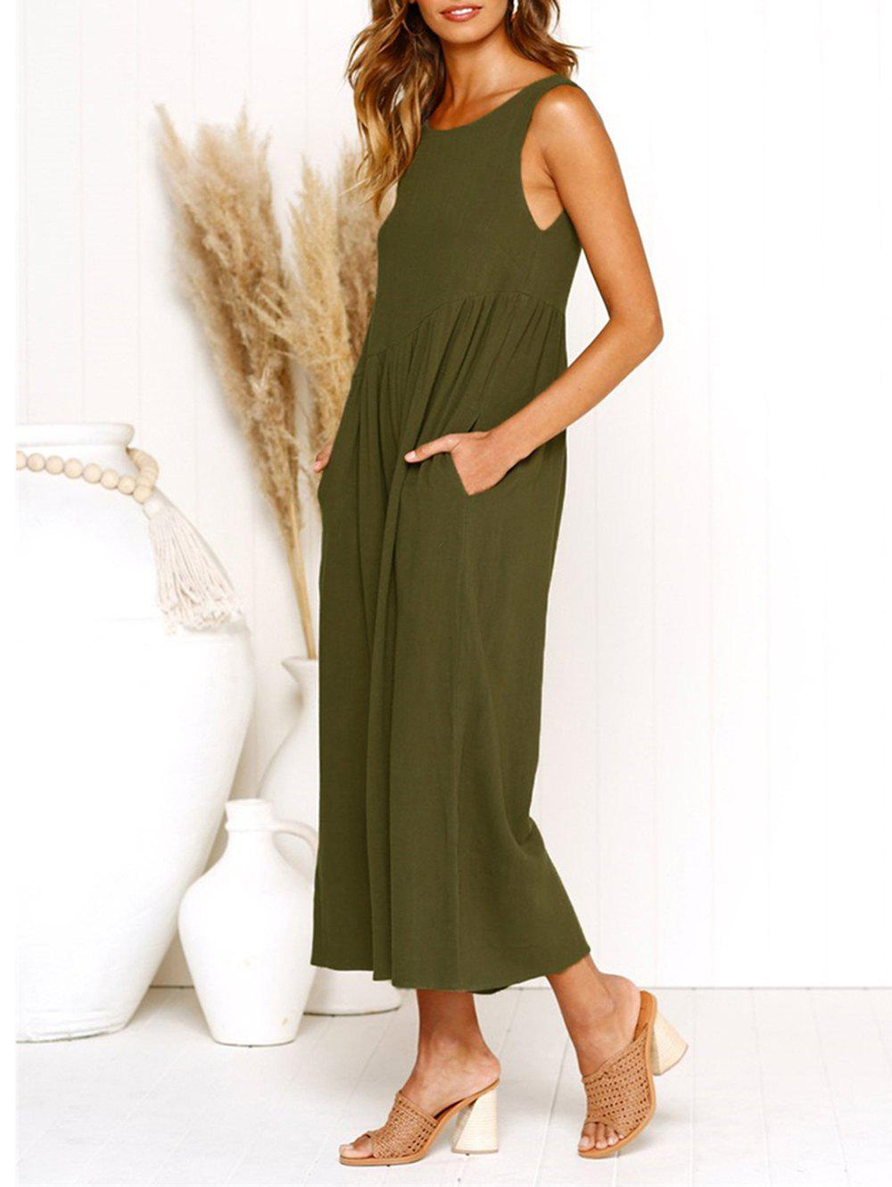 Trendy Womens Casual V-Neck Back Loose Fit Side Pocket Wide Leg Comfy Overall Jumpsuit Rompers