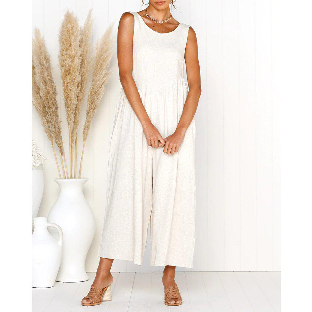 Discount Womens Casual V-Neck Back Loose Fit Side Pocket Wide Leg Comfy Overall Jumpsuit Rompers