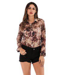 Printed Chiffon Shirt Lapel Single-Breasted Blouse - Фиолетовый XL