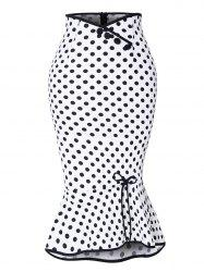 Polka Dot Button Up Flounce Skirt -