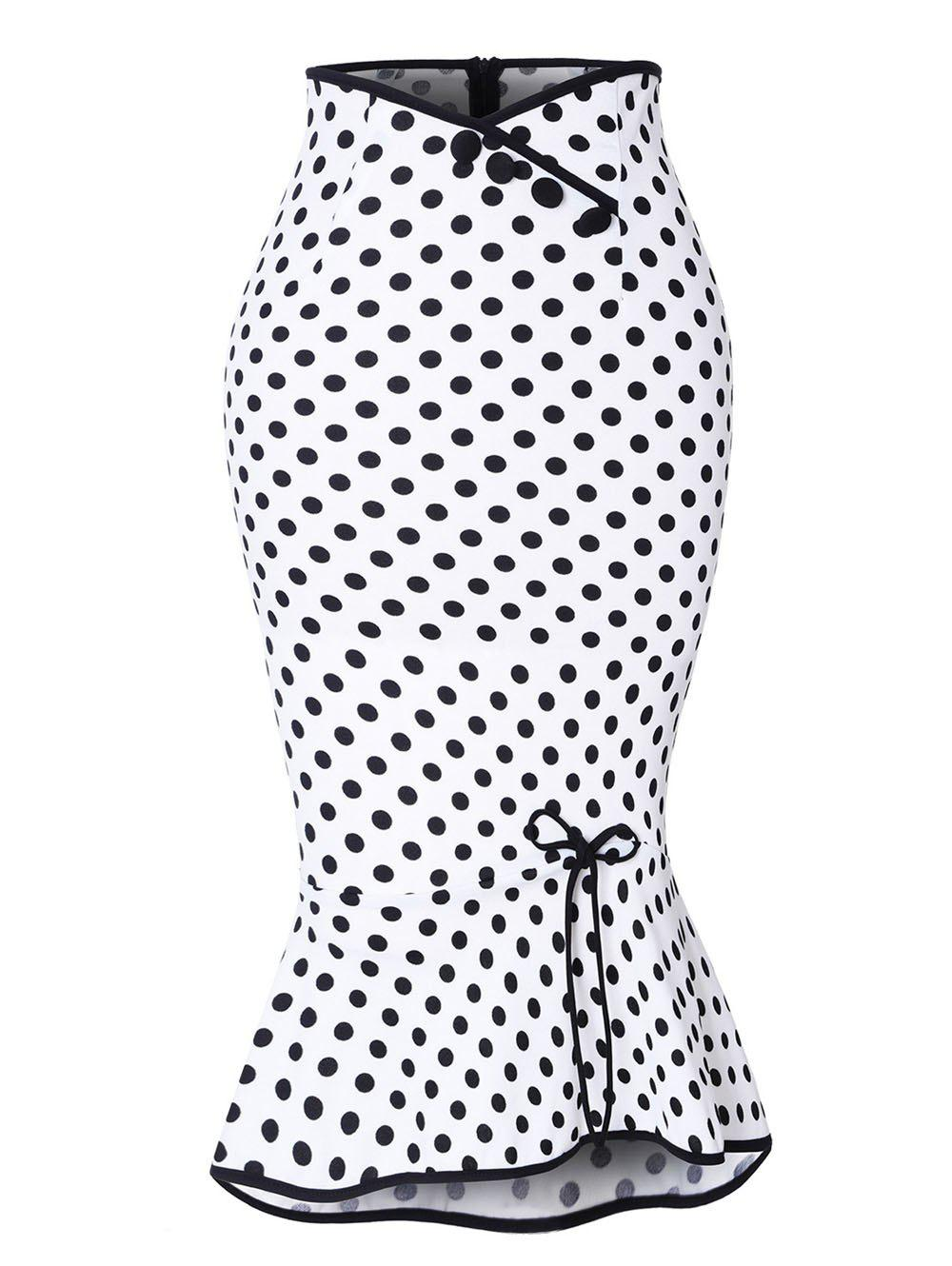 Unique Polka Dot Button Up Flounce Skirt