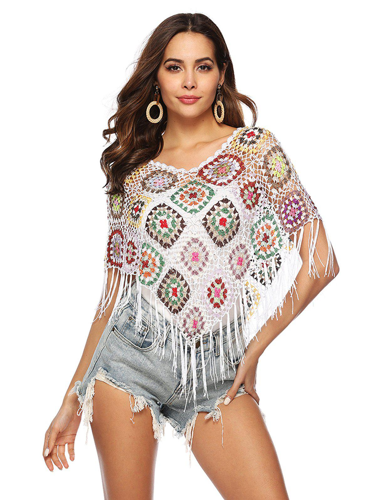 8171ac650d1 43% OFF] Hook Flower Stitching Tassel Bikini Blouse | Rosegal