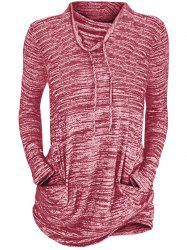 Womens Cowl Neck Long Sleeve Pocket Casual Tunic Sweatshirts T-shirt -