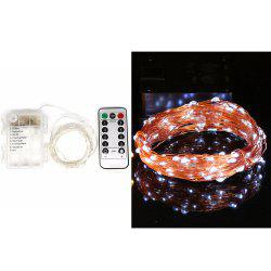 5M/10M 100 Led Fairy Lights 8 Flashing Modes Battery Operated With Remote Control Timer Waterproof Copper Wire Twinkle String Lights For Bedroom Indoor Christmas Decoration - Холодный Белый 10M 100LED