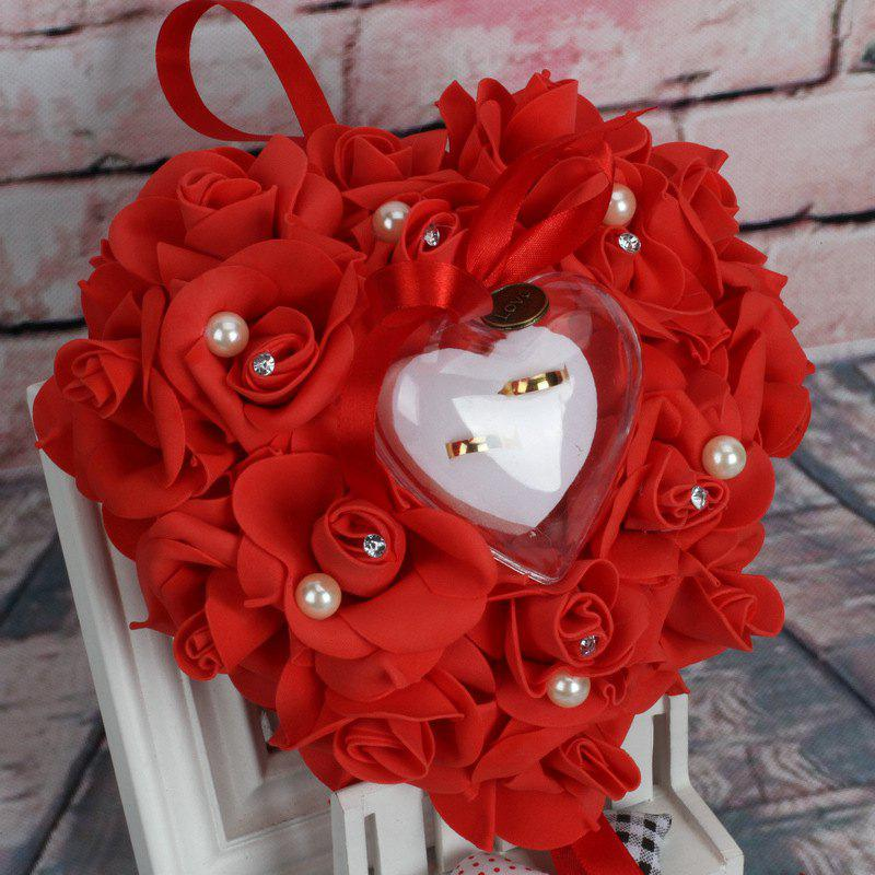 Wedding Ceremony Creative Simulation Rose Crystal Ring Bearer Pillow Heart Cushion Ring Pillow