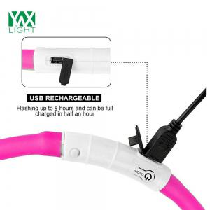 YWXLight LED USB Rechargeable Luminous Dog Collar - PINK