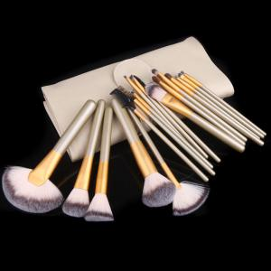 TODO 18pcs Professional Champagne Gold Makeup Brush Aluminium Handle -