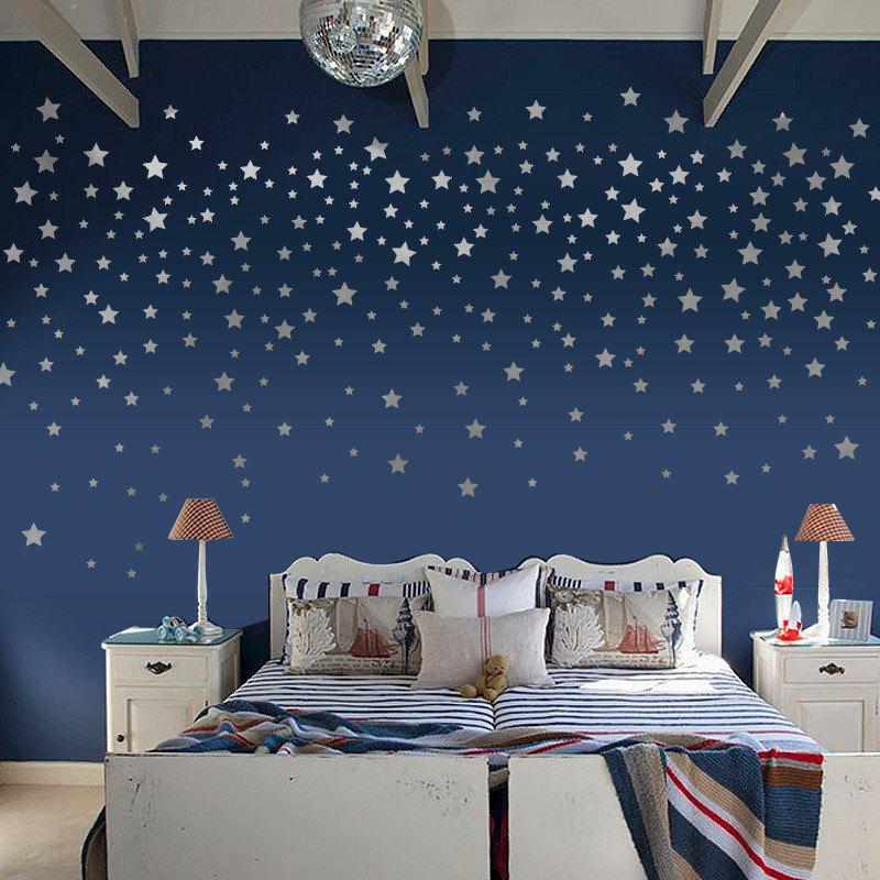 Home Decoration Silver Golden Foil Stars Removable Wall Stickers for DecorHOME<br><br>Color: SILVER; Type: Plane Wall Sticker; Subjects: Fashion,Shape; Art Style: Plane Wall Stickers; Function: Decorative Wall Sticker; Material: Vinyl(PVC); Suitable Space: Living Room,Bathroom,Bedroom,Dining Room,Office,Hotel,Cafes,Kids Room,Hallway,Kids Room,Study Room / Office,Boys Room,Girls Room; Quantity: 1;