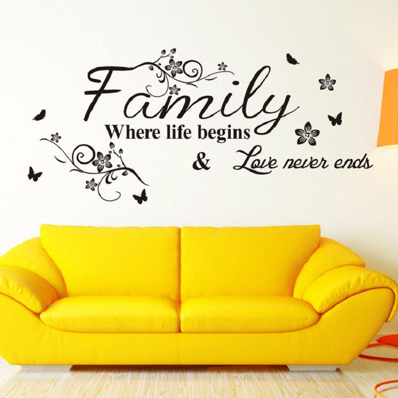Family Where Life Begins Love Never Ends 57 x 28 cmHOME<br><br>Color: BLACK; Brand: DSU; Type: Plane Wall Sticker; Subjects: Letter; Art Style: Toilet Stickers; Color Scheme: Black; Artists: Others; Function: Decorative Wall Sticker,Wedding Sticker; Material: Vinyl(PVC); Suitable Space: Bedroom,Boys Room,Cafes,Dining Room,Girls Room,Hotel,Kids Room,Kitchen,Living Room,Study Room / Office; Layout Size (L x W): 57 x 28 cm; Effect Size (L x W): 57 x 28 cm; Quantity: 1;