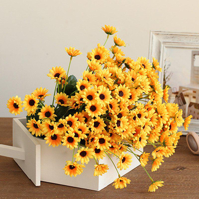 XM1 20Heads Mini Sunflower Artificial FlowerHOME<br><br>Color: YELLOW; Style: Pastoral Style; Branch Numbers: 1; Flower Materials: Silk; Display Space: Tabletop Flower; Floral Type: Sunflowers; Color: Yellow;