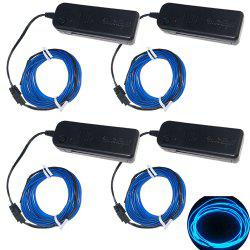 YouOkLight 3W 5V 3M Flexible Red / Green / Blue Neon EL Wire Light Dance Party Decor Light  Batteries not Included 4pcs -