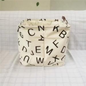 Alphabet Pattern Linen Folding Storage Basket Children'S Toys Box -