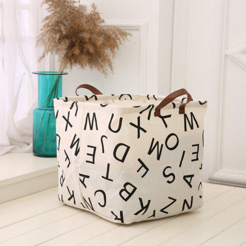 Discount Alphabet Pattern Linen Folding Storage Basket Children'S Toys Box - BLACK A  Mobile