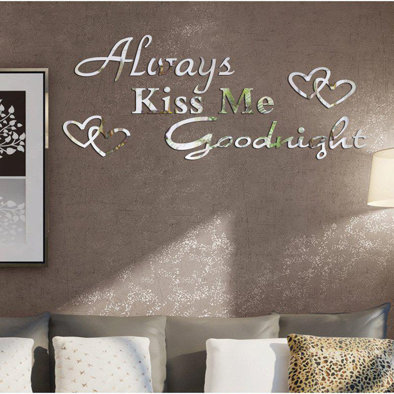 DIY Good Night Mirror Wall Stickers for Wall DecorHOME<br><br>Color: SILVER; Type: Mirror Wall Sticker; Subjects: Mirror,Words / Quotes; Function: Decorative Wall Sticker; Material: PMMA; Suitable Space: Living Room,Bedroom; Effect Size (L x W): 30*73cm; Quantity: 1;