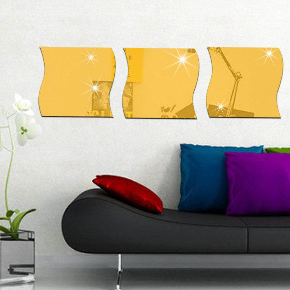 Golden 3pcs Diy Wave Shape Mirror Wall Stickers For Wall Decor ...