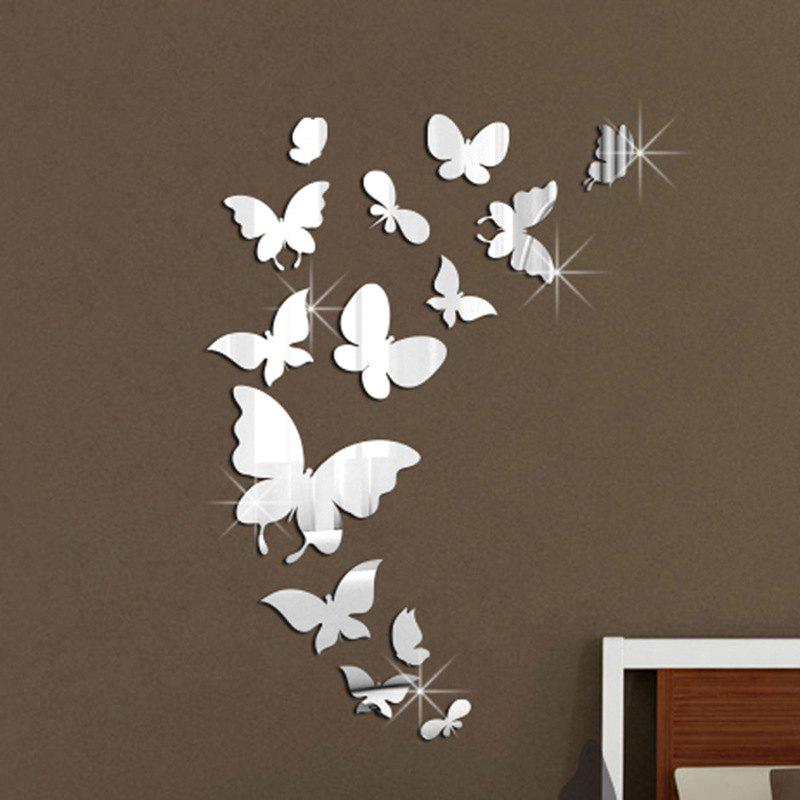 DIY Butterfly Mirror Wall Stickers for Wall DecorHOME<br><br>Color: SILVER; Type: Mirror Wall Sticker; Subjects: Mirror; Function: Decorative Wall Sticker; Material: PMMA; Suitable Space: Living Room,Bathroom,Bedroom,Dining Room,Office,Cafes,Kids Room,Girls Room; Layout Size (L x W): 37*55cm; Quantity: 1 Set;