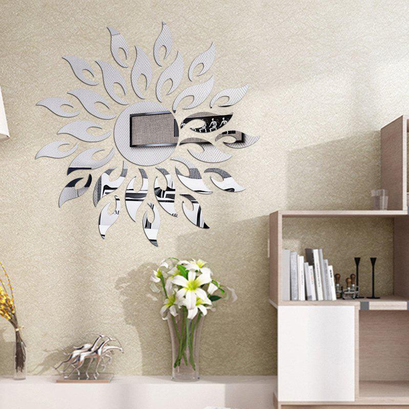 DIY Sun Mirror Wall Stickers for Wall DecorHOME<br><br>Color: SILVER; Type: Mirror Wall Sticker; Subjects: Mirror; Function: Decorative Wall Sticker; Material: PMMA; Suitable Space: Garden,Living Room,Bathroom,Bedroom,Dining Room,Office,Hotel,Cafes,Kids Room; Layout Size (L x W): 50*50cm; Quantity: 1 Set;