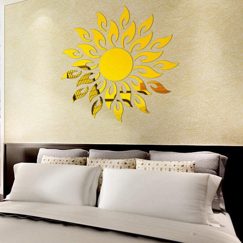 Golden Diy Sun Mirror Wall Stickers For Wall Decor | RoseGal.com