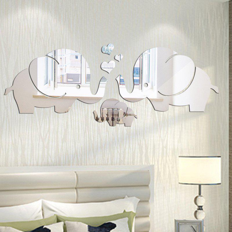 DIY Elephant Family Mirror Wall Stickers for Wall DecorHOME<br><br>Color: SILVER; Type: Mirror Wall Sticker; Subjects: Cartoon,Mirror; Function: Decorative Wall Sticker; Material: PMMA; Suitable Space: Living Room,Bathroom,Bedroom,Dining Room,Office,Cafes,Kids Room; Effect Size (L x W): 22*58cm; Quantity: 1 Set;