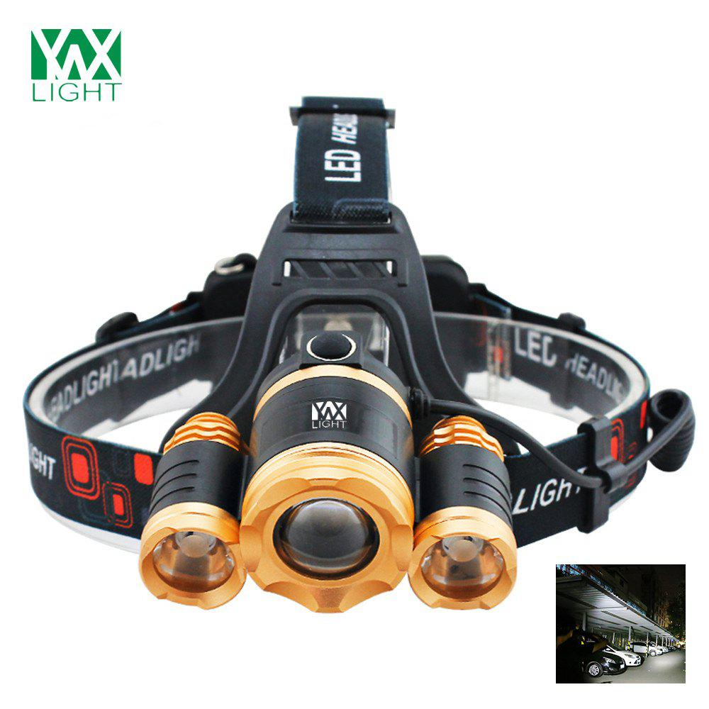 YWXLight 30W LED Headlamp Waterproof Zoomable Flashlight Torch for CampingHOME<br><br>Color: MARIGOLD; Color: Golden; Flashlight Type: Handheld,Safety,Spotlight; Flashlight size: Full Size; Emitters: Cree XML-T6; Emitters Quantity: 3; Luminous Flux: 2800 - 3000 LM; Feature: Waterproof,Zoomable; Function: Backpacking,Bike,EDC,Emergency,Exploring,Fishing,Household Use,Hunting,Night Riding,Search,Seeking Survival,Walking; Switch Location: Head; Mode: 4(High - Mid - Low - SOS); Power Source: Battery,DC Charger; Battery Type: 18650; Battery Quantity: 2 x 18650 Lithium Battery; Battery Included or Not: No; Zooming Function: Yes; Rechargeable: Yes;