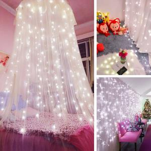 KWB LED Window Curtain Icicle Lights 300 LED String Fairy Lights 118.11 x 118.11 Inch 8 Modes White Christmas / Thanksgiving / Wedding / Party Backdrops - WHITE 110V US PLUG