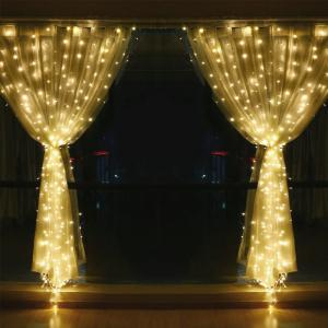 KWB LED Window Curtain Icicle Lights 300 LED String Fairy Lights 118.11 x 118.11 Inch 8 Modes White Christmas / Thanksgiving / Wedding / Party Backdrops -
