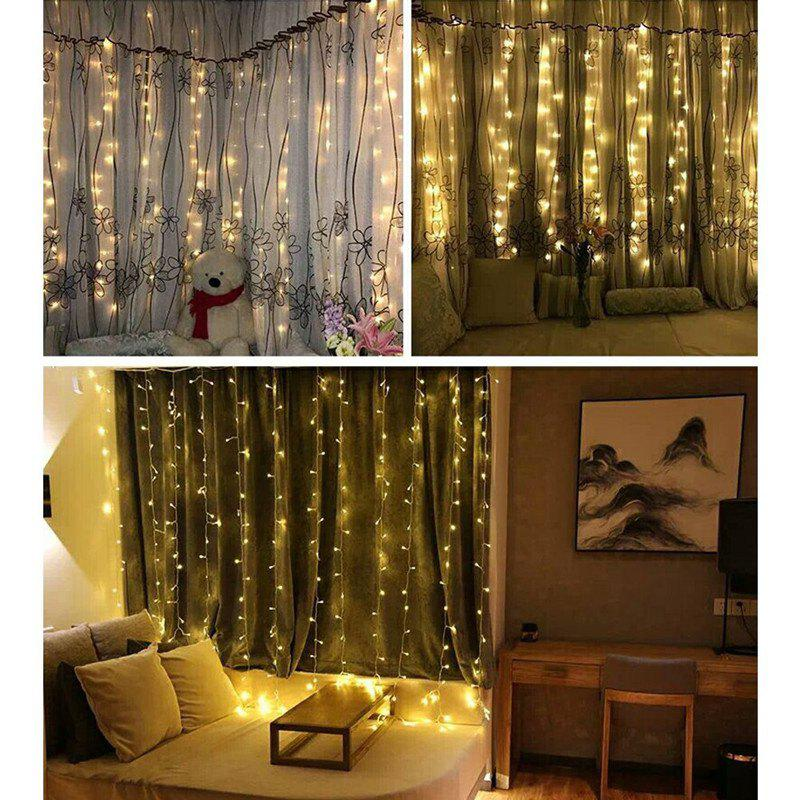 KWB LED Window Curtain Icicle Lights 300 LED String Fairy Lights 118.11 x 118.11 Inch 8 Modes White Christmas / Thanksgiving / Wedding / Party BackdropsHOME<br><br>Size: 110V US PLUG; Color: WARM WHITE LIGHT; Holder: Other; Output Power: 15W; Voltage (V): AC110-220; Luminous Flux: 4-5; Lifespan: 30000; Features: Energy Saving; Function: Commercial Lighting,Home Lighting,Outdoor Lighting,Studio and Exhibition Lighting; Available Light Color: Blue,Warm White,White; Body Color: Transparent; Sheathing Material: Plastic;