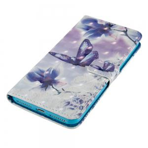 Butterfly Flowers 3D Painted PU Phone Case for iPhone 7 Plus -
